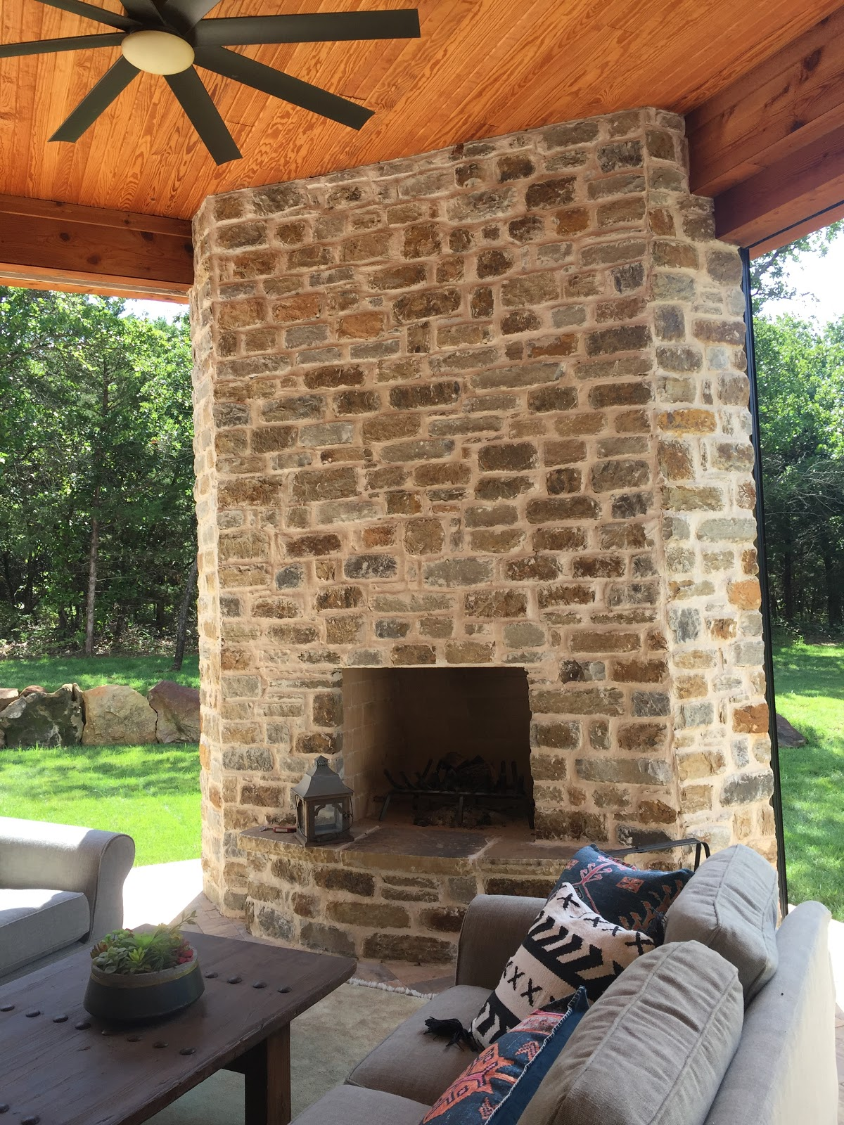 Cabin Creek Blue Brown Cut Mix Used to Build A Fireplace