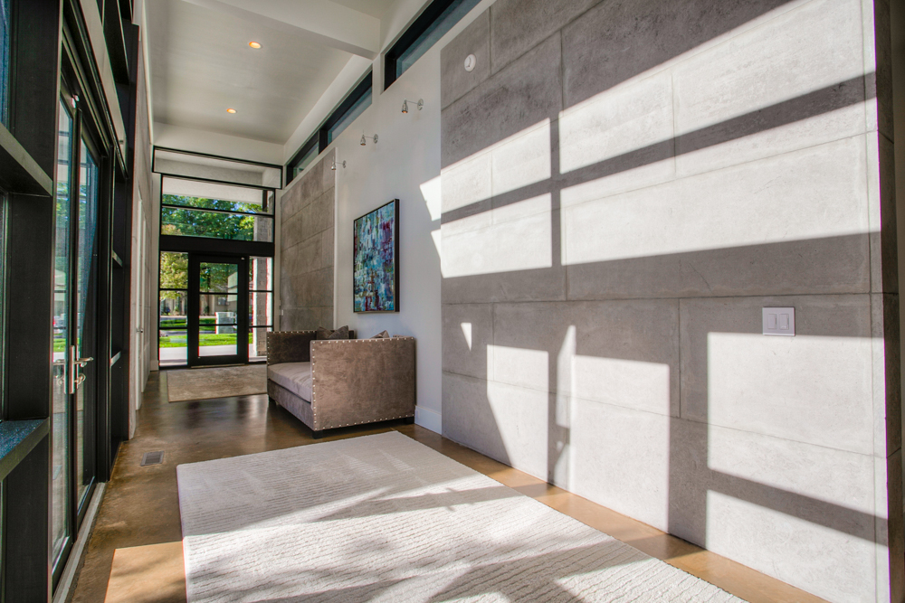 charcoal Lueders slabs installed on walls 1 | Richburg Stone